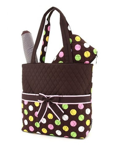 Quilted polka dots 3 piece diaper bag LPDQ1103L(BRMT) BS795