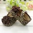 New baby girl's leopard shoes w/ large flower infant size 12-18 months