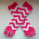 Pink and White ruffled chevron leggings baby girl leg warmers socks C190 Sale