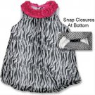 Baby girls 0-3 black and white zebra print bubble romper