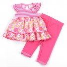 Baby girls 6-9 months pink 2pc set pants and top - floral B509