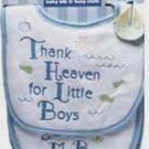 "Luvable Friends ""Thank Heaven For Little Boys"" Bib & Burp Cloth Set Baby Gift"