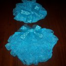 Small baby girl's blue lace diaper cover and cap newborn picture prop