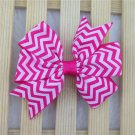Girls chevron dark pink and white color hairbow hair accessories