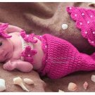 Baby Girls Newborn-9M Knit Crochet Rose Red Mermaid Costume Photo Prop Outfits C849