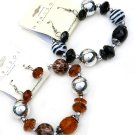 Two ladies animal print beaded bracelets with earrings black and brown stretch jewelry