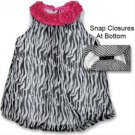Baby girls 6 months black and white zebra print bubble romper