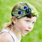 Vintage style peacock headband with feathers and assorted color rosebuds toddler hairbow C175