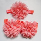 Baby toddler coral colored barefoot sandals & headband baby hair accessories C224