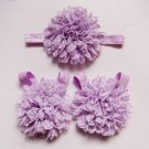 Baby toddler purple colored barefoot sandals & headband baby hair accessories C224