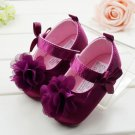 New baby girl's size 3-6 months purple shoes with flower infant crib shoes