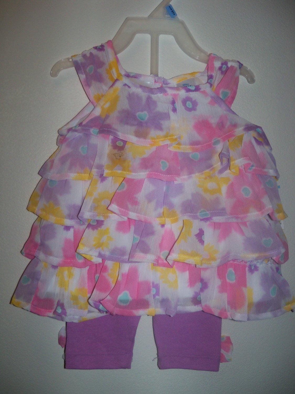 Baby girls size 3 6 months 2 piece capri set infant clothing