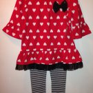New girls size 3T black and red leggings set top and pants