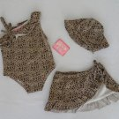 New 18 months 3 piece baby leopard swimsuit girls swimwear bathing suit w/ tags