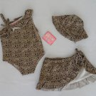 New 4 toddlers 3 piece baby leopard swimsuit girls swimwear bathing suit w/ tags
