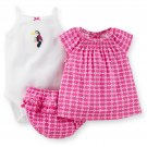 Baby girls newborn size 3 piece set bodysuit, top and diaper cover S499