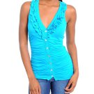 Ladies large front button blue blouse top sleeveless shirt