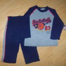 New baby boy's 2 piece 6-9 months blue & gray pants & sweatshirt basketball