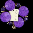 Ladies purple marble look flat disc bracelet girl's jewelry