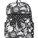BELVAH QUILTED FLORAL DESIGN LARGE BACKPACK BOOK BAG QF2746(BKWH) BS500 GIFT