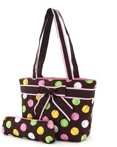 Quilted monogrammable polka dots insulated lunch bag LPDQ11LT19(BRMT) BS500