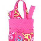 Quilted peace sign monogrammable 3PC baby diaper bag QTP1103L(FSMT) newborn