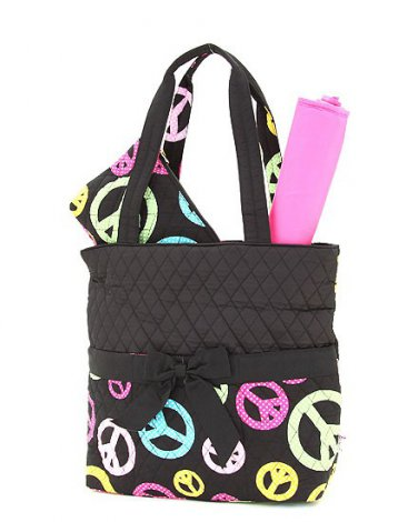 Quilted peace sign monogrammable 3PC baby diaper bag QTP1103L(BKMT) newborn