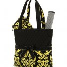 Quilted damask monogrammable 3pc baby diaper bag DAQBKGd B1000000S