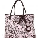 QUILTED PAISLEY LARGE TOTE HANDBAG PURSE QPF2705(PKBR) BS500