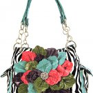 Ladies zebra print handbag with floral accent ZT893F-Tuq