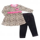 Baby girls 24M leopard set long sleeve top with ruffles and denim like jeans