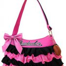 Girl's cheerleader skirt Handbag w/ Football Keychain (Pink/Black)