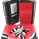 Zebra floral print Flat Wallet w/ Checkbook Cover & Zipper Pocket (Fuchsia) COT238F-Pnk