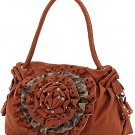 Ladies Floral Leopard Print PVC Leather Tote Bag w/ Rhinestone K12-7123B LA750