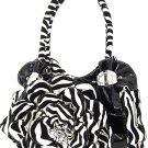 Floral Zebra Print PVC Laminated Leather Tote w/ Rhinestone (Black)