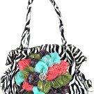 Zebra Print Fashion Handbag Tote w/ Rhinestone ZT897F-Plan