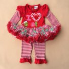Baby girl's 9 months Rare Editions Christmas leggings & tutu top I love Santa