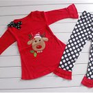 Baby girl's 2T toddler Christmas pants & long sleeve red top reindeer Rudolph