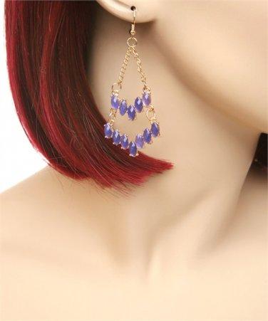Ladies chandelier earrings w/ acrylic colored stones E689901 FS55 jewelry gift