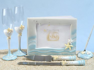 Starfish wedding theme guest book, glasses, pen set and Cake knife set.