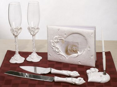 Crystal Calla Lily wedding guest book, pen set, toasting glasses and cake knife server set