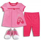Baby girl's 0-3 months 3pc set - pants, romper and shoes K400