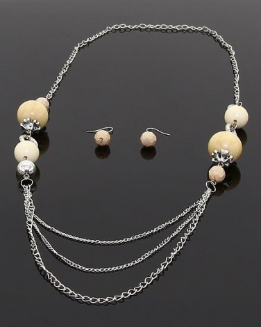Multi-layered chain link necklace & earrings w/ beads BS100 ACS11178M CM