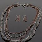 Ladies twisted layer chain link necklace & earring set BLE1012HE BS100