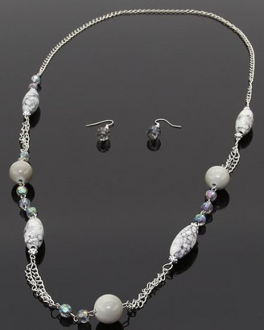 Long silver chain necklace with gray marble like beads