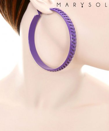 Large purple hoop earrings jewelry E6522BL-28