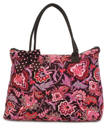 QUILTED FLORAL PATTERN TOTE HANDBAG PURSE QF2705(BRPK) 1150 Monogrammable Gift