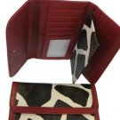 Ladies giraffe print tri-fold checkbook wallet 057-786 RED handbag