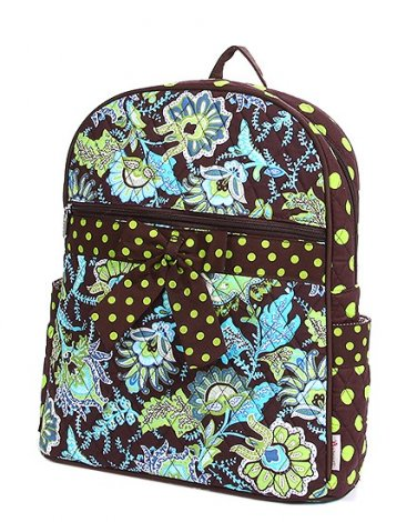Belvah quilted floral backpack book bag QF2746(BRLM)