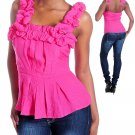 Ladies size large pink pleated blouse with ruffles women's top